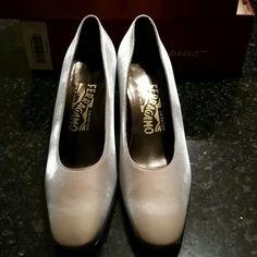 Ferragamo Shoes Beautiful silver colour shoes...brand new...wear couple of times. ..size 7.5B Ferragamo Shoes