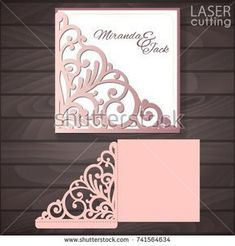 Die laser cut wedding card vector template. Invitation envelope with lace corner. Wedding lace invitation mockup. Template for cutting. Die cut pocket envelope template. #weddinginvitationenvelopes