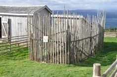 A typical pin built for animals when the Sottish settled here. Highland Village Museum near Sydney, Canada.