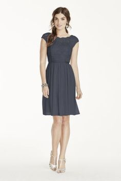 Short Lace and Mesh Dress with Illusion Neckline - Davids Bridal (in Wisteria)