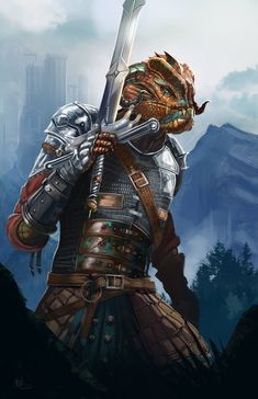 [Art] I got my Dragonborn Fighter commissioned : DnD