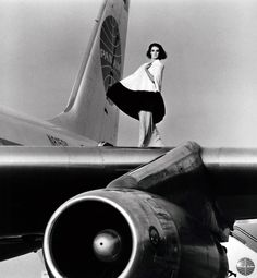 Deborah Dixon, photographed on the wing of a Pan Am Boeing 707 at Beirut International Airport by F.C. Gundlach (1962)