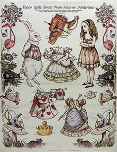 Make a Collage with these Alice in Wonderland Vintage Paper Dolls John Tenniel Victorian Era Printable Sheet Alice White Rabbit w/ Costumes Digital Collage Sheet by mindfulresource, $4.00 #etsy #alice #vintage #paperdoll #craft