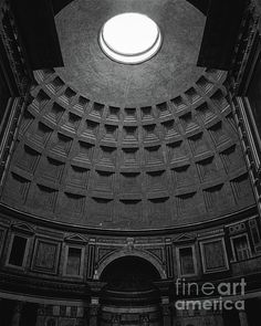 View of the oculus and the geometric shapes of the dome from the entrance to the Pantheon in Rome. Perfectly preserved and two thousand years old, the Pantheon is one of the most impressive buildings in Rome. Framed Prints, Canvas Prints, Art Prints, Art Friend, 1st Century, Rome Italy, Wood Print, Geometric Shapes, Beach Towel