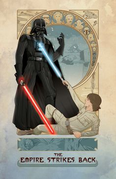 Empire Strikes Back Movie Poster in Art Nouveau style. by Cryssy Cheung