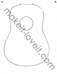 One for Cardboard Guitar Guitar Patterns, Purse Patterns, Quilt Patterns Free, Free Pattern, Sewing Patterns, Fabric Doll Pattern, Fabric Dolls, Cardboard Guitar, Acoustic Guitar Cake