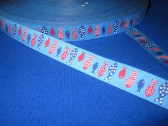 Ribbon maritim Fishes in blue-red de Retro-Stoff-Cafe por DaWanda.com