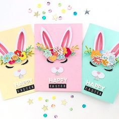 "@kjstarre created these adorable Easter cards using the goodies in our February 2018 Hip Kits along with our HKC Exclusive ""bunny"" cut file. Who wouldn't love receiving one of these in the mail?!? . #hipkits #hipkitclub #february2018hipkit #hkcexclusivecutfiles #silhouette #cameo #digitalcutfiles #easterbunny"