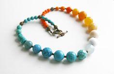 Statement Necklace Orange Yellow Blue Necklace Ombre Necklace. $52.00, via Etsy.