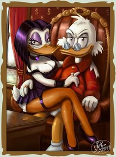 Another Valentine Image . Scrooge And Magica Married , at last . Lets remeber the love for money and Power, so common on our society . With Time , Scroo. Scrooge and Magica Disney Fan Art, Disney Style, Disney Pixar, Adult Cartoons, Disney Cartoons, Disney Universal Studios, Nostalgic Art, Disney Duck, Dark Disney