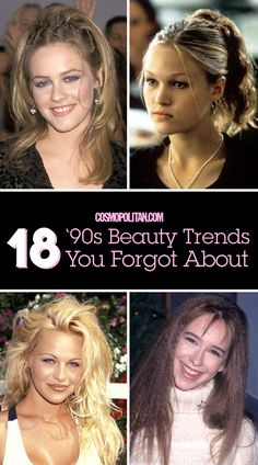 "90S BEAUTY TRENDS: You'll never forget these fun 90s beauty trends! Get some retro inspiration or use these ideas for a costume party or concert — you'll love looking back at these big beauty and hair trends! Click through to see how your fav celebs wore ""The Rachel"" hairstyle, blue eyeshadow, brown matte lipstick, and more."
