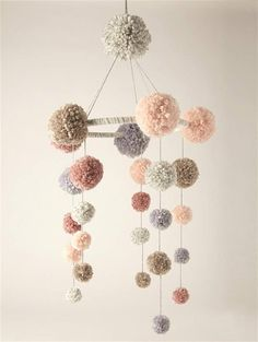 Adorable pom-pom baby mobile settings can be made to match your baby's room! Color, size, shape can all be customized. * Made to order! Please note that making the blanket can take between 2 to 3 weeks. I can do colors and Pom Pom Mobile Anja s Pom Poms, Pom Pom Baby, Tulle Poms, Diy Mobile, Hanging Mobile, Baby Crib Mobile, Baby Cribs, Baby Mobiles Diy, Craft Stick Crafts