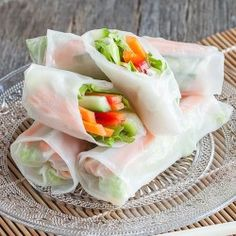 Crunchy and light rice paper rolls, filled with fresh vegetables and served with a soy dipping sauce. Full of flavors and gorgeous to look at!