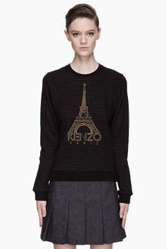 ShopStyle.com: KENZO Black Striped Eiffel Tower embroidered Sweater $285.00