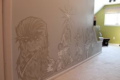 Interior Whimsy: Star Wars nursery mural. I'm in love with that Chewbacca.