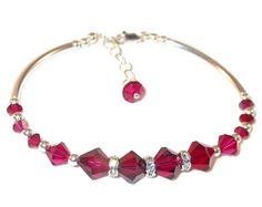 RUBY RED Crystal Bracelet Sterling Silver Handcrafted Swarovski Elements by CharminglyYoursToo on Etsy