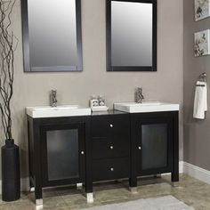 "60"" Bathroom Vanity Williamsburg Collection - This unique modern design bathroom vanity will give your bathroom a trendy and totally up-to-date appearance."