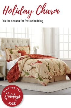 As you deck the halls for the holidays, don't forget to make your bed with festive bedding. We love this reversible 6-piece bed-in-a-bag set in holiday hues, and offered at a price that can't be beat! It's perfect for your room or the guest bedroom, and it's sure to keep you warm, cozy and merry throughout the holiday season. Shop in stores or online at belk.com. Christmas Bedding, Plaid Christmas, Country Christmas, Christmas Themes, Christmas Pajamas, Holiday Decor, Bath Decor, Bedroom Decor, Welcome To My House