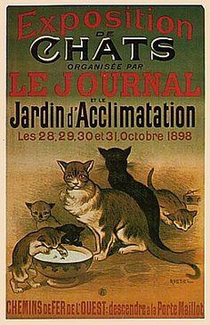 ¤ Vintage French cat show poster (1898) Exposition des chats au jardin d'Acclimatation. Chemins de fer de l'Ouest, descendre à Porte Maillot