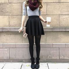 Here is Black Skirt Outfit Idea for you. Black Skirt Outfit how to wear skirts with sweaters this winter Black Skirt Outfit Mode Outfits, Fall Outfits, Casual Outfits, Black Outfits, Winter Outfits With Skirts, Outfits With Tights, Black Tights Outfit, School Outfits, Teen Fashion