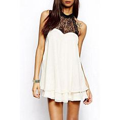 Double-Layered Halter Lace Spliced Chiffon Dress ($30) ❤ liked on Polyvore featuring dresses