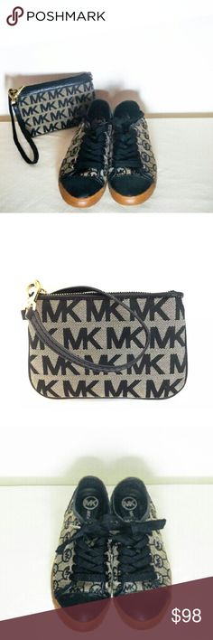 Michael Kors Sneakers Size 8 plus FREE WRISTLET! This is a special Michael Kors bundle only on Poshmark to spread Big Posh Love! You get authentic Michael Kors tan and black sneakers size 8 with the famous MK logo monogram honeycomb print plus you get a matching FREE Michael Kors Wristlet! This wristlet is an authentic Michael Kors wristlet clutch phone case with the famous MK logo print monogram in tan and black jacquard. Two adorable style statements!! Double Awesome!! MICHAEL Michael Kors…