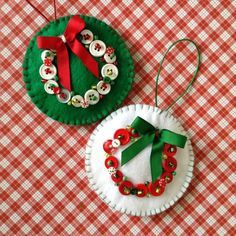 Christmas felt ornaments - (set of 2) very unique design with buttons and beads decor with a lovely bow creating a wreath. Handmade and the size is