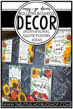 Are you a teacher who is looking for bulletin board inspiration to get your classroom ready for back to school? Find tons of theme ideas, including ladybug and sunflower, farmhouse, camping, tropical, beach, and many more! These beautiful inspirational bulletin board themes will make your classroom or school a place of positivity. These ideas will encourage growth mindset, perseverance, teamwork, kindness, and more! Download FREE all are welcome posters, too! #thelittleladybugshop