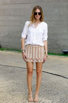 Turn heads in an embellished shell skirt from Ammis and Luiza Barcelos sandals.