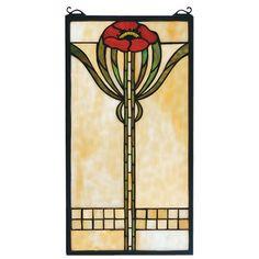 Meyda Tiffany Floral Parker Poppy Stained Glass Window & Reviews   Wayfair