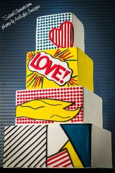Lichtenstein retro pop art wedding cake