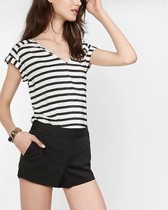 petite striped rolled sleeve blouse