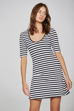 585da7054668f VOYAGE STRIPE DRESS black w white