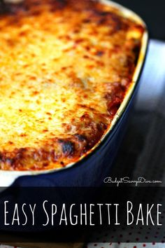 Easy Spaghetti Bake recipe from Budget Savvy Diva Ingredients 1 package (16 ounces) spaghetti 1 pound ground beef 1 medium onion, chopped 2 cloves of garlic mined 1 jar (24 ounces) meatless spaghetti sauce ½ teaspoon cinnamon ( my secret ingredient) 2