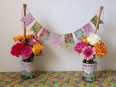 Allison Sadler's Liberty Print Bunting and Jam Jar Wedding Decorations @ Liberty.co.uk Blog