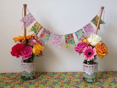 @molliemakes contributor, Allison Sadler, shows us how to make table wedding decoration from mini #LibertyPrint bunting and jam jars #LibertyCraftBlog - The Liberty Craft Blog | Liberty.co.uk Blog - Part 3