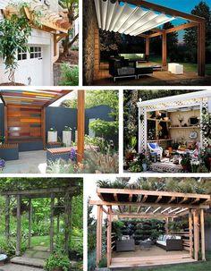 retractable pergola roof diy-LOVE the vertical gardens that line it!