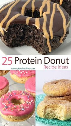 25 easy, high-protein, gluten-free protein donut recipe ideas using whey protein, Quest protein, and Andréa's Protein Cakery mixes.