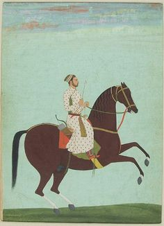 Equestrian Portrait of a Mughal Prince on a Brown Horse, India, Mughal period, 1735-1740, Harvard Art Museums/Arthur M. Sackler Museum.