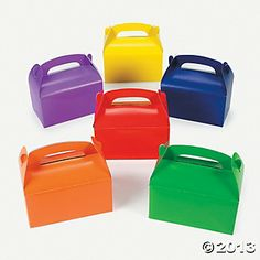 """Brightly Colored Treat Boxes Brightly Colored Treat Boxes. The party possibilities are endless with these brightly colored treat boxes! In a rainbow of beautiful hues, these vivid containers are perfect for filling with celebration goodies or small gifts. Cardboard. 6 1/4"""""""