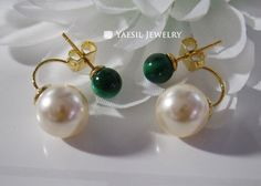 Malachite Earrings, [6/10] Drop Earrings with Natual Gemstone Malachite and Cream Pearl, Sterling Silver Post, Bridal Earring by YaesilJewelry on Etsy
