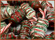 """Chocolate covered marshmallows on a candy cane """"I'll dip that in my hot cocoa!"""""""