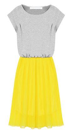 Grey Short Sleeve Contrast Yellow Chiffon Hem Beach Dress - Sheinside.com