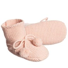 Blush pink knitted wool and cashmere baby bootees by Les Enfantines. These super soft bootees are in a chunky knit and cover the ankles. They have a ribbon tie at the front decorated with pompoms.<br /> <ul> <li>10% cashmere, 40% wool, 30% viscose, 20% nylon (soft, chunky knit)</li> <li>Hand wash</li> <li>Designer colour: Blush Pink</li> </ul>