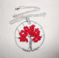 Tree of Life Pendant - Coral chip beads ~ Retail $44