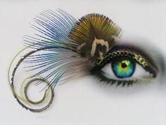 Feather False Eyelashes - peacock green with peridot - Eyelash Jewelry