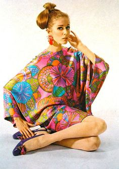One of my favorite looks; my heart skips a beat everytime I see a print like this while browsing the racks at a thrift store. Brights colors meet fantastic floral prints. A staple for mods, hippies…