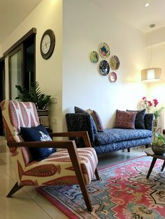 Seating Roundup - Our Favourites From Last Year Indian Living Rooms, Boho Living Room, Living Room Decor, Home And Living, Living Room Designs, Small Living, India Home Decor, Ethnic Home Decor, Indian Room Decor