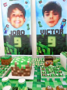 Head Table from a Minecraft Birthday Party via Kara's Party Ideas | KarasPartyIdeas.com (14)