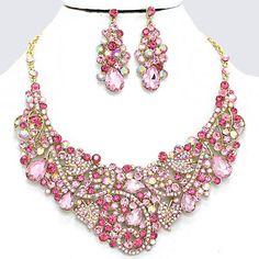 Royal Pink AB Crystal Rhinestone Teardrop Vine Swirl Formal Gold Chunky Necklace Set Elegant Costume Jewelry